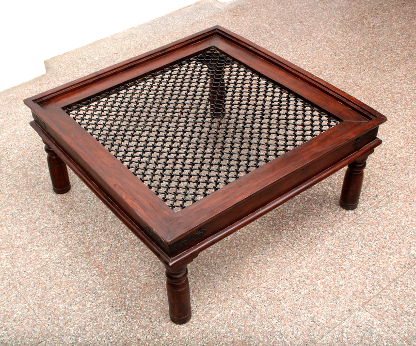 Wooden Large Jali Deesign Coffee Table Centre Table For Glass