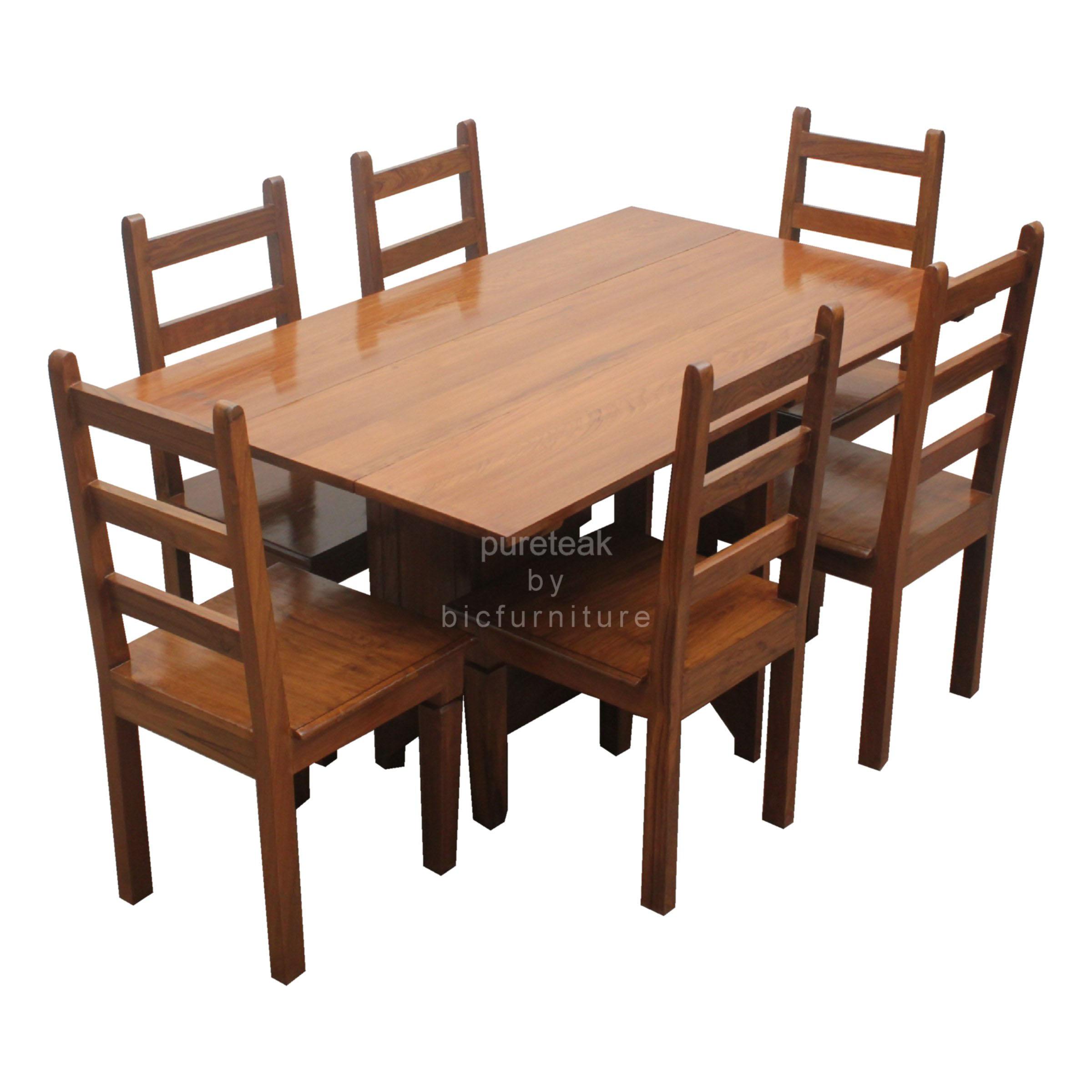 Six Seater Dinning Table Set In Teak, Teak Wood Dining Room Table