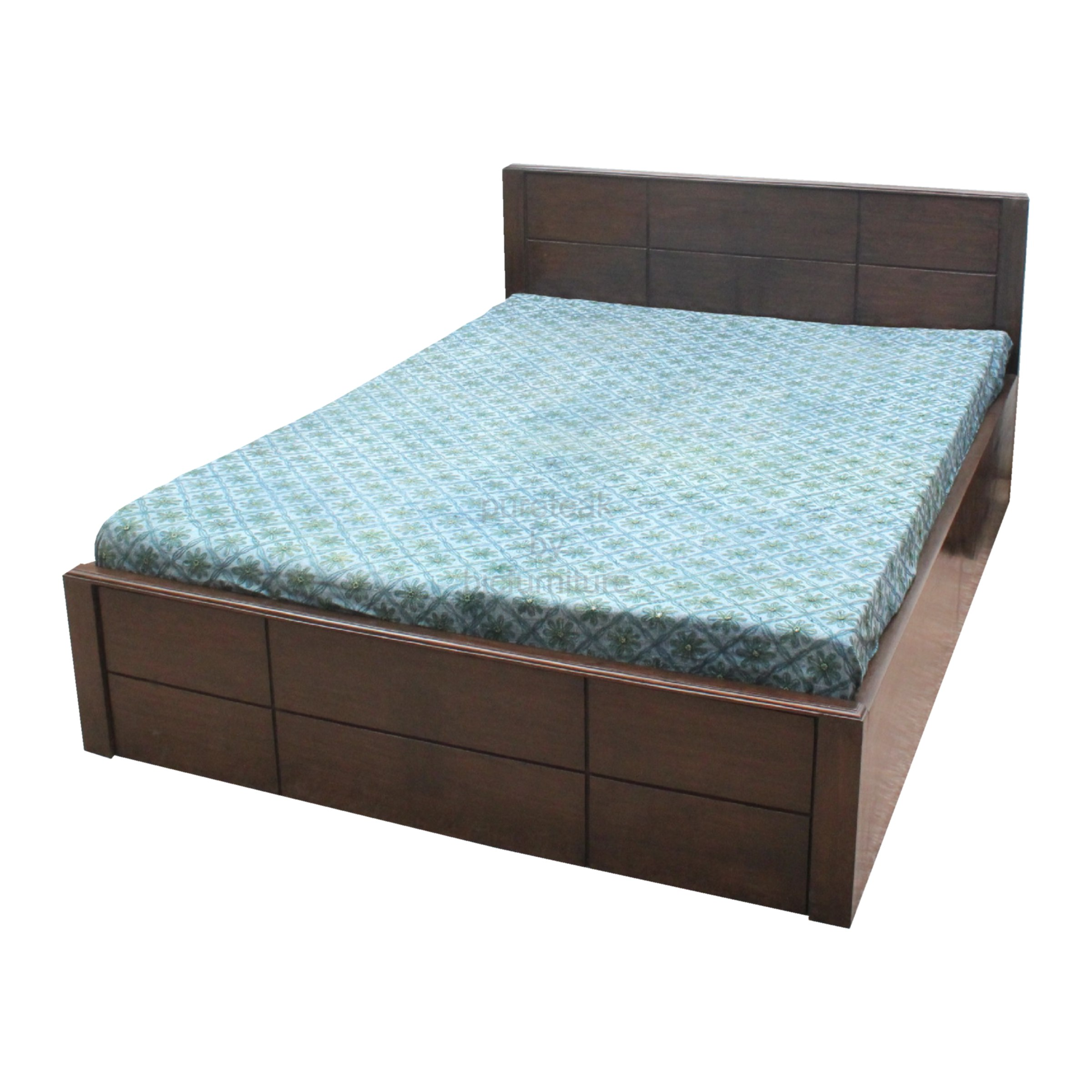 Teak Wood Double Bed With Dark Finish Bed 33 Details Bic Furniture India
