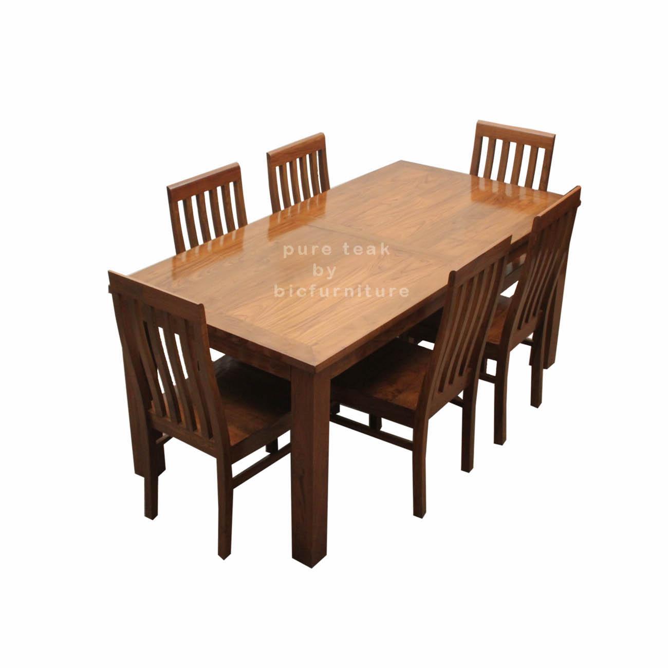 Teak Wood Dining Set In Pure, Teak Wood Dining Room Table
